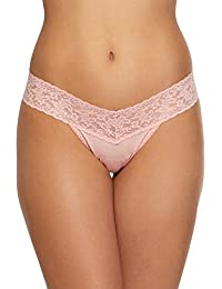 Womens Rolled Organic Cotton Low Rise Thong With Lace In Rosita