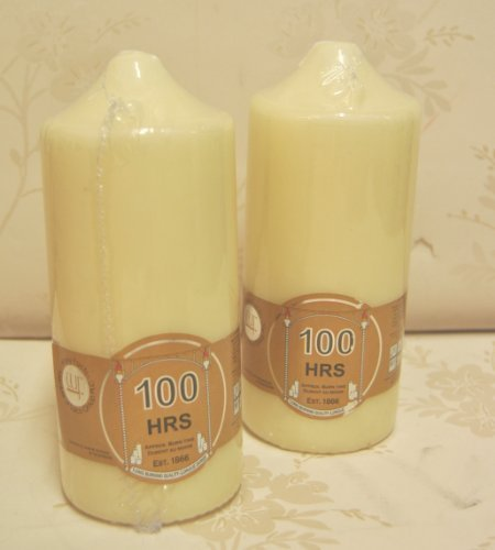 Lot de 2 bougies pilier type cierge 100 heures Crè me/Ivoire-Bougie de qualité