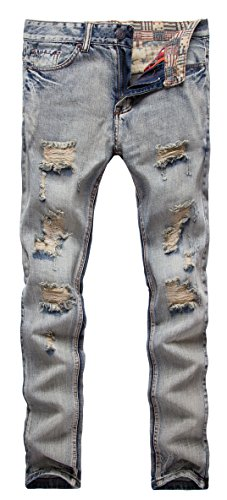 FEESON Men's Ripped Slim Fit Straight Denim Jeans Vintage Style with Broken Holes 01 W30 Light Blue