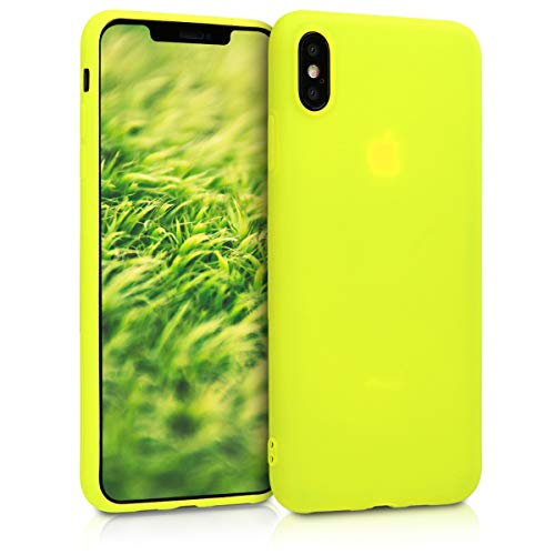 kwmobile TPU Silicone Case for Apple iPhone Xs Max - Soft Flexible Shock Absorbent Protective Phone Cover - Neon Yellow