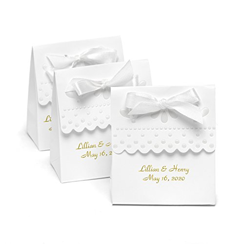 Personalized Cake Favor Boxes (Personalized Scalloped Edge White Favor Boxes - Canopy Street - Custom Wedding Favors)