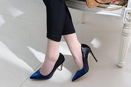 Mila Lady Bonnie08 Donna Moda Impreziosita Scintillio Contrasto Colore Scarpe A Punta Pompe Tacco Alto Stiletto Sexy Slip On Scarpe Eleganti, R.blue/nv