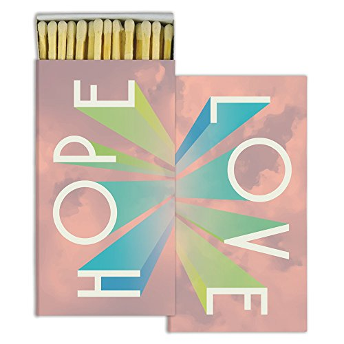 HomArt Large Decorative Hope and Love Candle and Fireplace Wood Matches