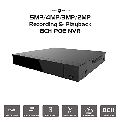 (Ares Vision 8 Channel POE NVR Network Video Recorder 5MP/4MP/3MP/2MP Playback & Recording. Supports All ONVIF IP Cameras (8 CH POE))