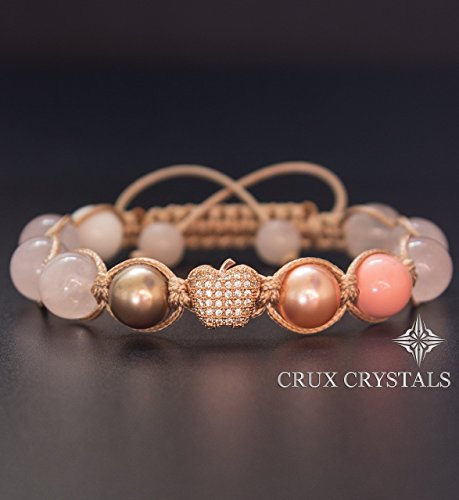 Pink Blush Women's Rose Gold Shamballa Bead Bracelet, - Shamballa Wrap Bracelet