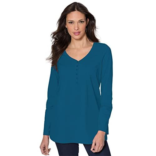 304f3bd459608 Ultimate Tee Women s Plus Size Ultimate Henley Pocket Tee With Sweetheart  Neck 70%OFF