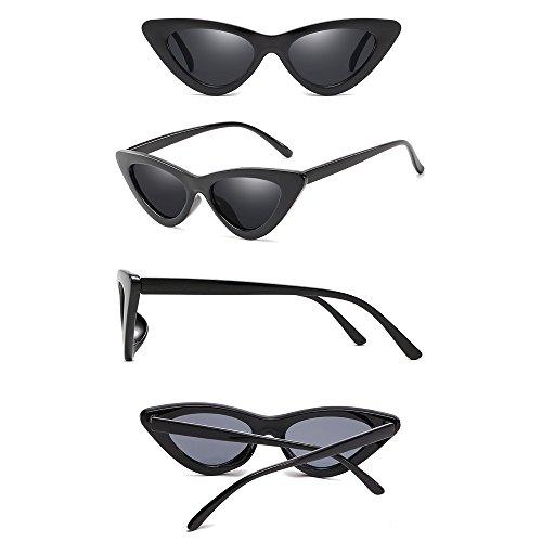 Rétro Lunettes Noir Unisexe Gris Oeil Femme Homme Lunettes de Mode de Soleil Triangle Classique BOZEVON chat RwtgPqx