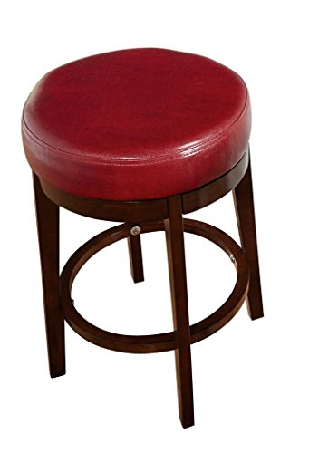 Target Marketing Systems The Avenue Collection Contemporary Style Faux Leather Upholstered Wooden Dining Swivel Stool, 24