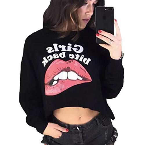 Longues Sweat Xinwcanga Asymtrie Expos Manches Femmes Shirt Nombril Modle Noir Impression qqEpH