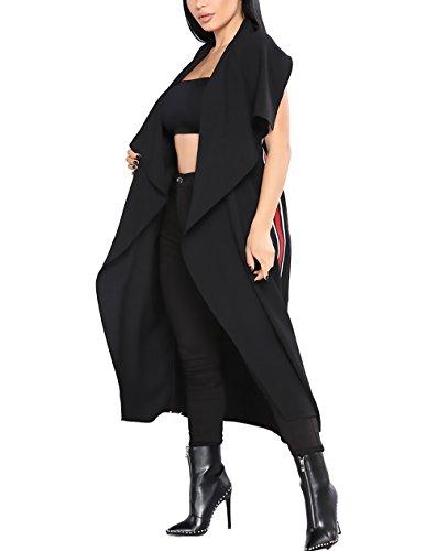 Largos Elegantes Anchas Frente Con Chaquetas De Abrigo Primavera Cinturón Rebecas Solapa Sin Mangas De Negro Casual Cardigan Mujer Irregular Abierto Zw8FOPxq