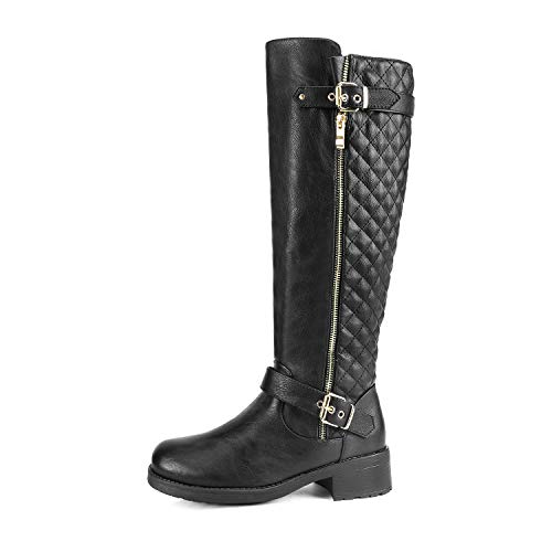 Dream Pairs Women's UTAH Black Low Stacked Heel Knee High Riding Boots Size 8 M US