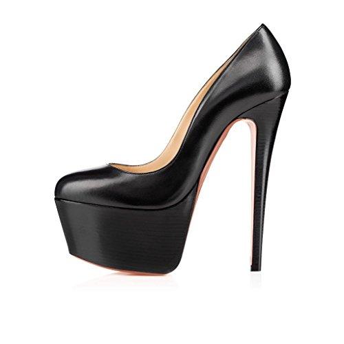 Arc-en-Ciel zapatos de la plataforma de las mujeres bombas de punta redonda Negro