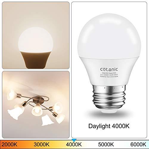 E12 LED Ceiling Fan Light Bulb 5000K Daylight,Candelabra LED Bulb 6W 60 Watts Equivalent,Cotanic Decorative A15 LED Bulbs for Chandelier,600 Lumen,80+CRI,Non-Dimmable,6 Pack