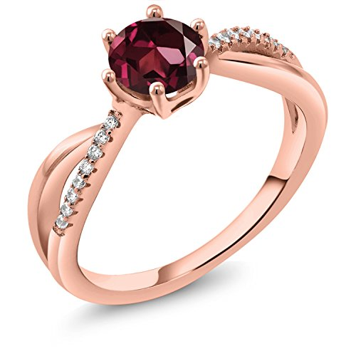 Gem Stone King 1.19 Ct Round Red Rhodolite Garnet 18K Rose Gold Plated Silver Ring (Size 8)