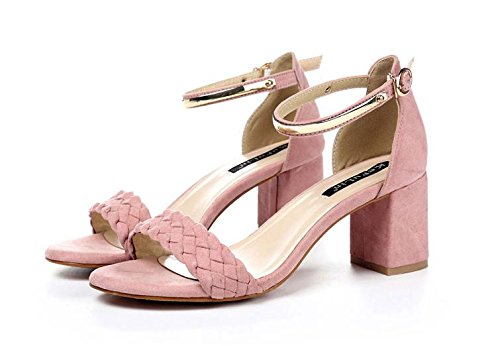 Buckle Evening Chunky Party amp; Scrub pink Shoes Sandales pour Fashion Roman femmes Heel Dress LvYuan d'été pgw04