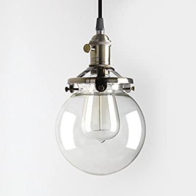 "Pathson Industrial Antique Style Dia 5.9"" Flush Mount Light Plantation Collection Flush Mount Ceiling Light with Clear Glass Globe Shade Ceiling Light Fixtures"