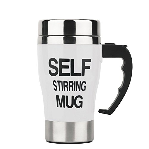 Self Stirring Coffee Mug, Stainless Steel Automatic Mixing and Spinning Coffee Mug Cup Portable Lazy Tea Coffee Cup Perfect for Travel Office Home (White) by Smileto®