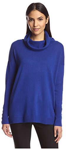 SOCIETY NEW YORK Women's Button Sleeve Cowlneck Sweater, Cobalt, XS