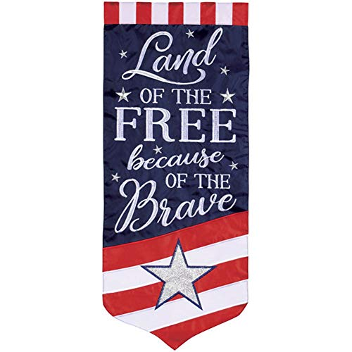 (Carson Home Accents 43261 Double Applique Banner Garden Flag, Multi-Color)
