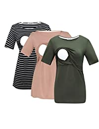 Bearsland Women's 3 Packs Maternity Nursing Tops Short Sleeve Breastfeeding Shirts