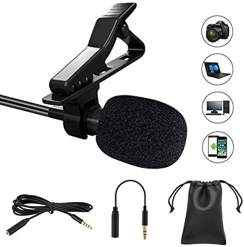 Professional Lavalier Lapel Microphone Omnidirectional Condenser Mic for Phone/ Desktop PC Computer - Recording Mic for Youtube / Interview / Video Conference / Podcast / Voice Dictation