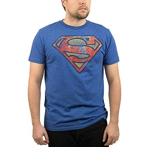 DC Comics Superman Logo T-Shirt Officially Licensed (Blue Distressed, X-Large)