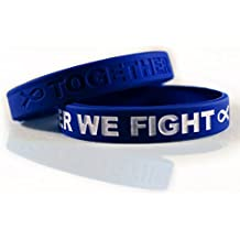 Cancer Awareness Bracelets With Saying TOGETHER WE FIGHT, Gift for Patients, Survivors, Family and Friends, Set of 2 Ribbon Silicone Rubber Wristbands for All