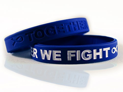 Cancer & Cause Awareness Bracelets with Saying Together WE Fight, Gift for Patients, Survivors, Family and Friends, Set of 2 Ribbon Silicone Rubber Wristbands for All (Colon Cancer Dark Blue) -