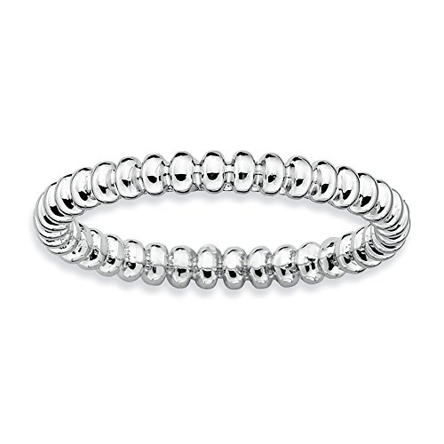 Sophisticated 925 Sterling Silver Stackable Rhodium Plated Beaded (Beaded Pot)