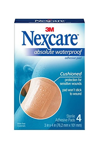 Nexcare Absolute Waterproof Adhesive Gauze Pad 3 Inches x 4 Inches, 4 ea ( Pack of 2)