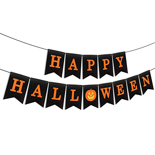 Diy Happy Halloween Sign (AERZETIX Happy Halloween Bunting Banner Pumpkin Sign Festival Party Decoration Fireplace Table Wall Pennant Photo Prop Sign - Need)