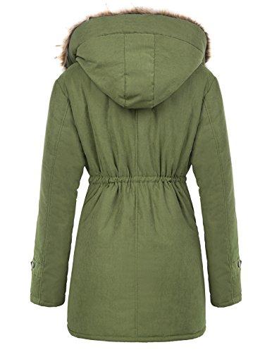 Mujer Con Grace Verde Invierno Capucha Chaqueta Para Largo Karin Abrigo De Cálido gIwqC0I
