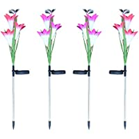 ACHICOO 3LEDs Impermeable Solar Powered Lily Flower Mariposas