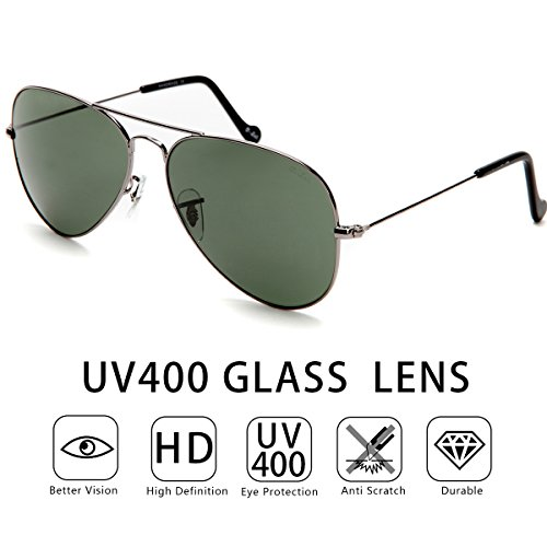 O-LET Men Aviator Sunglasses Women Aviators UV400 Glasses (Gunmetal Frame/Green Lens, 58)