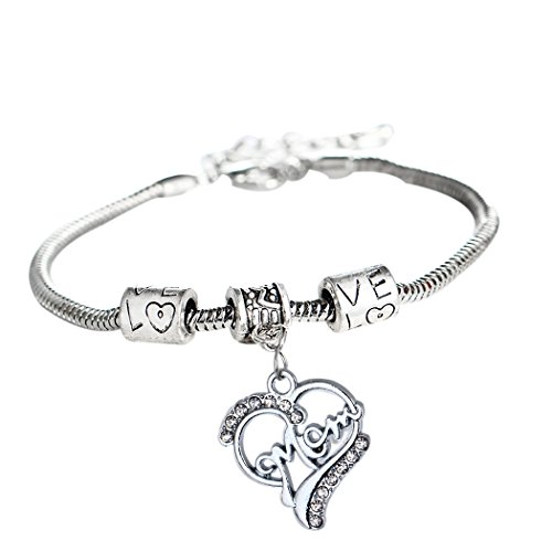 L'vow Love Heart Round Charm Pendant Bracelet Gift for Family (Mon) Son Gift Set