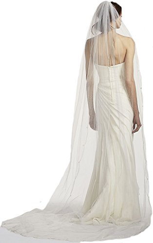Top-Sexy Ivory 1 Tier 3M Cathedral FINAL SALE One tier Designer Bridal Veil with Simple Scroll Edge 29 by Top-Sexy