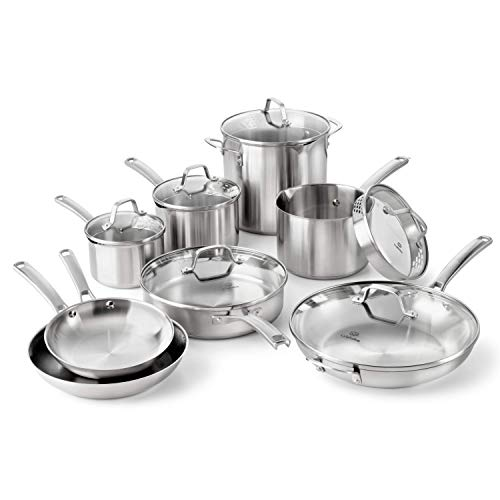 Calphalon Classic Stainless Steel Cookware Set, 14-Piece Calphalon Stainless Steel Contemporary Skillet