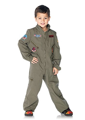 Leg Avenue Big Boy's Top Gun Boys Flight Suit Adult Costume, Khaki, Large]()