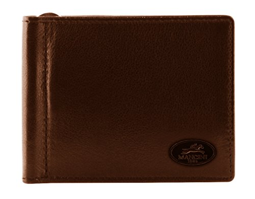 - Mancini Leather Goods Inc Men's Top Grain Polished Drum Dyed Leather RFID Secure I.D. Card Single Bill Clip 4