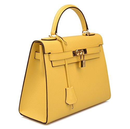 Purse Lemon Purse Satchel Yellow Handbags Women's Bag Padlock Ainifeel B Hobo Shoulder SwIFn6