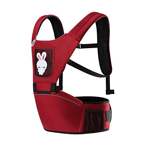 Baby Carrier Breathable Non-Slip Decompression Hip Seat Carrier Ergonomic Design Portable Multifunction Backpack Carrier With Detachable Seat Red