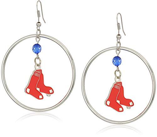 MLB Boston Red Sox Color Bead Hoop Earrings