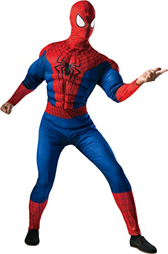 Rubie's Costume Men's Marvel Universe, The Amazing Spider-man 2 Deluxe Muscle-chest Spider-man Costume, Multicolor, One (Comic Book Character Costumes Male)