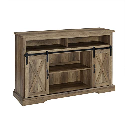 Pemberly Row 52'' Sliding Door TV Stand Console in Rustic Oak Barnwood by Pemberly Row
