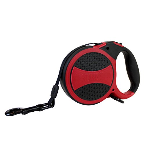KONG Comfort Retractable Leash S/M 16ft for dogs up to 55lbs black/red