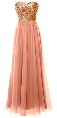Bridesmaid MACloth Sequin Long Women Dress Gold Party Rose Gown Wedding Strapless Formal wXrE6Xyq