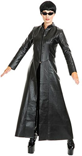 Matrix Trinity Costume (Women's Teen 2-4 Black Matrix Costume Long Jacket Coat)