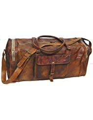 Firu-Handmade 24 Vintage Style Leather Brown Duffel Gym Sports Luggage Bag Handmade