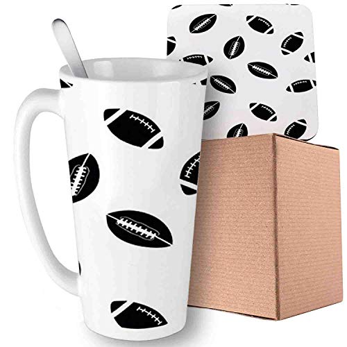 (with Black Rugby Balls Culture Sports Play, Black White;Ceramic mug with Spoon & Coaster Creative Morning Milk Coffee Tea Porcelain 16oz gifts for)