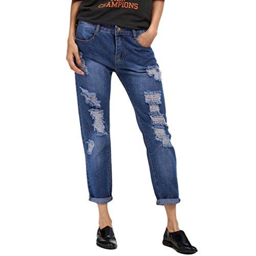 Dexinx Mesdames Loose Classic Vintage Dchir Jeans t Extrieur Casual Couleur Unie Denim Cropped Pantalon Bleu